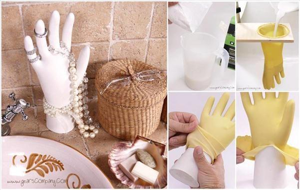 diy jewelry organization ideas plaster hand plastic glove