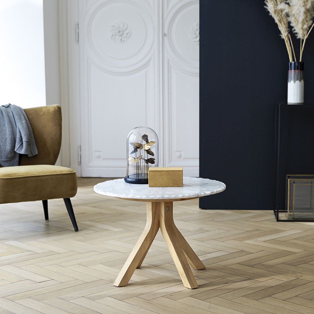 Oak Wood And Marble Coffee Table 50 Cm In 2020 Side Table Wood Mahogany Coffee Table Marble Coffee Table [ 1200 x 1200 Pixel ]
