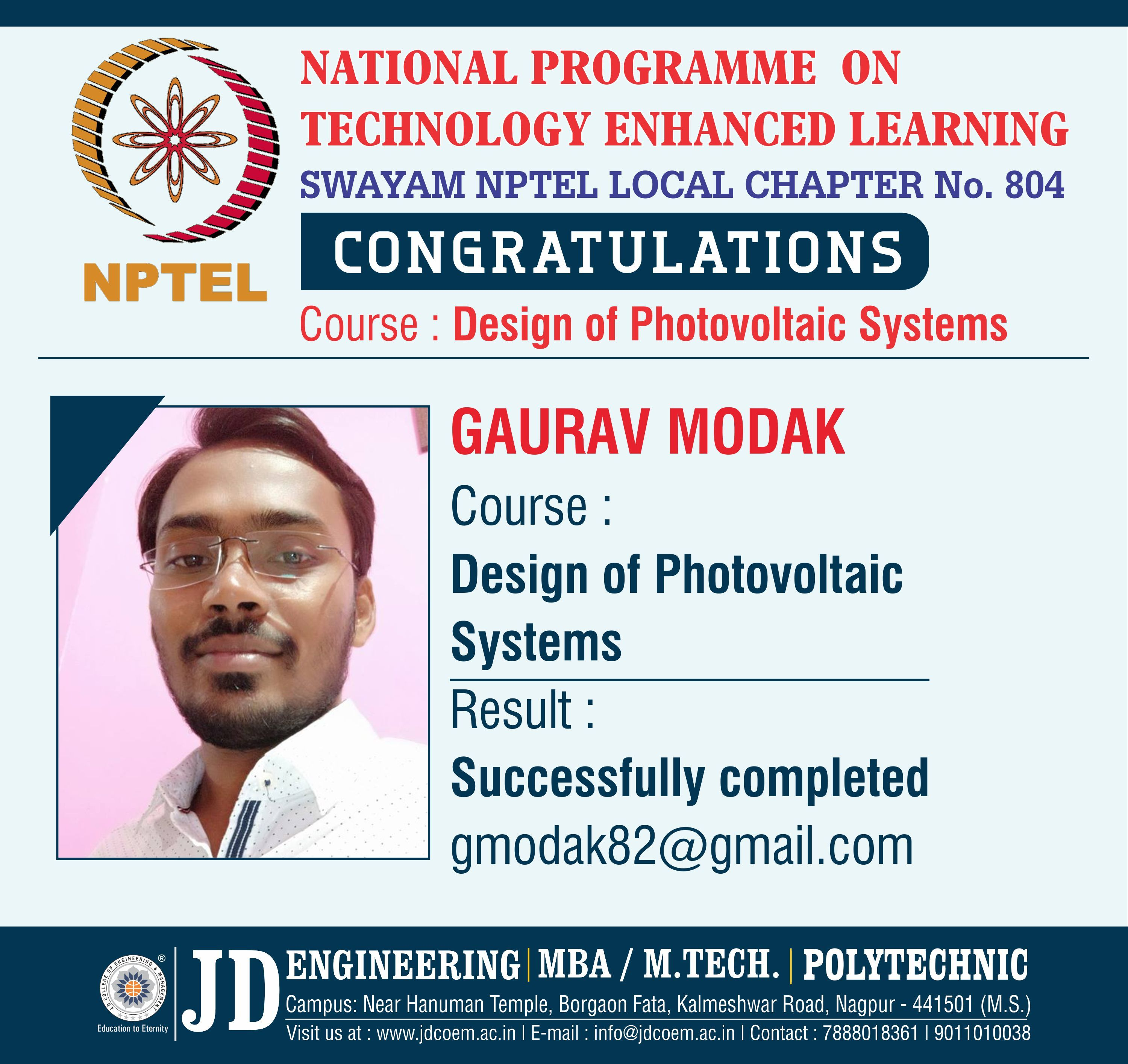 Hearty Congratulations To Gaurav We Are Happy To Announce That J D College Of Engineering Management Photovoltaic System Engineering Management Photovoltaic