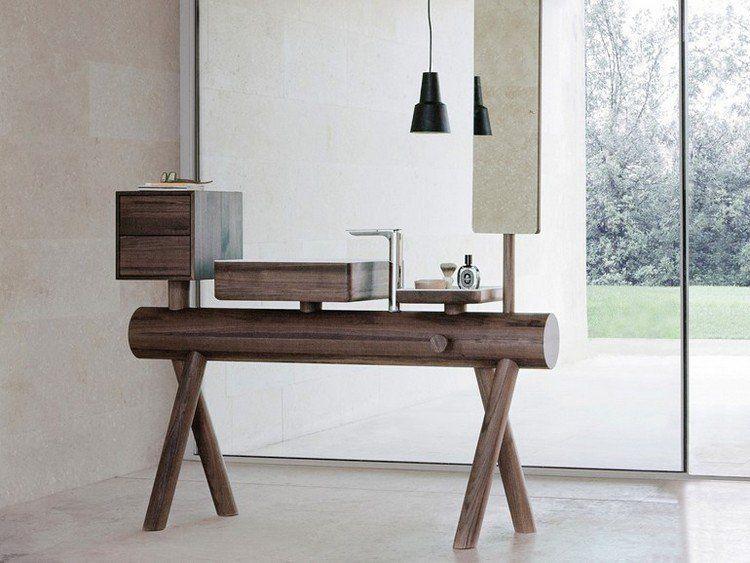 meuble de salle de bain en bois avec vasque intgre - Salle De Bain Integree