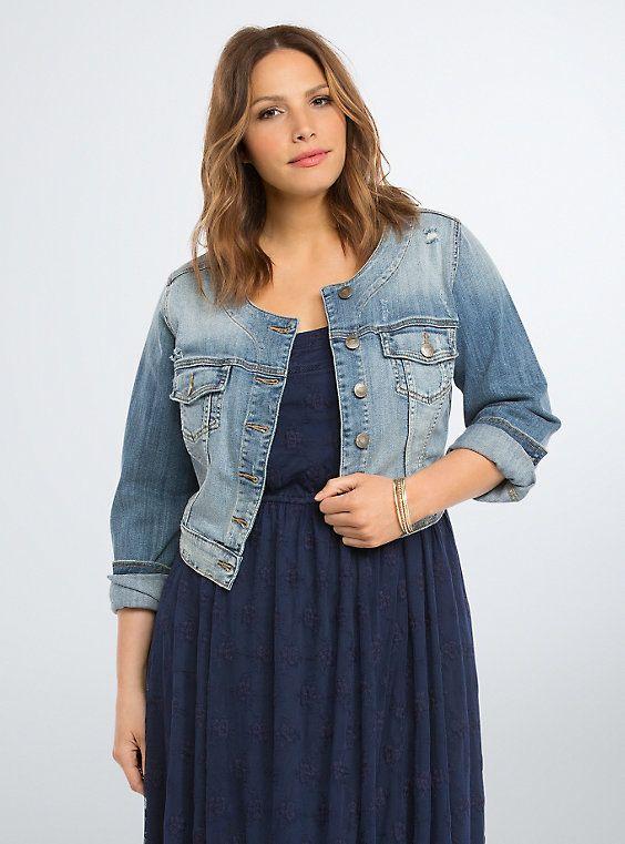 ad3d65a1667 Plus Size Cropped Denim Jacket