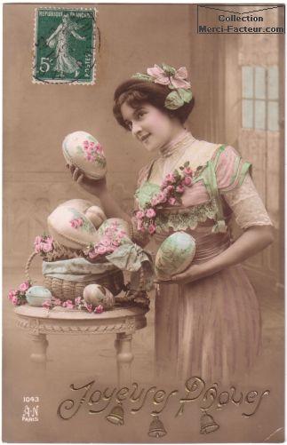 jolie jeune femme avec oeufs de paques carte postale ancienne collection pinterest cartes. Black Bedroom Furniture Sets. Home Design Ideas