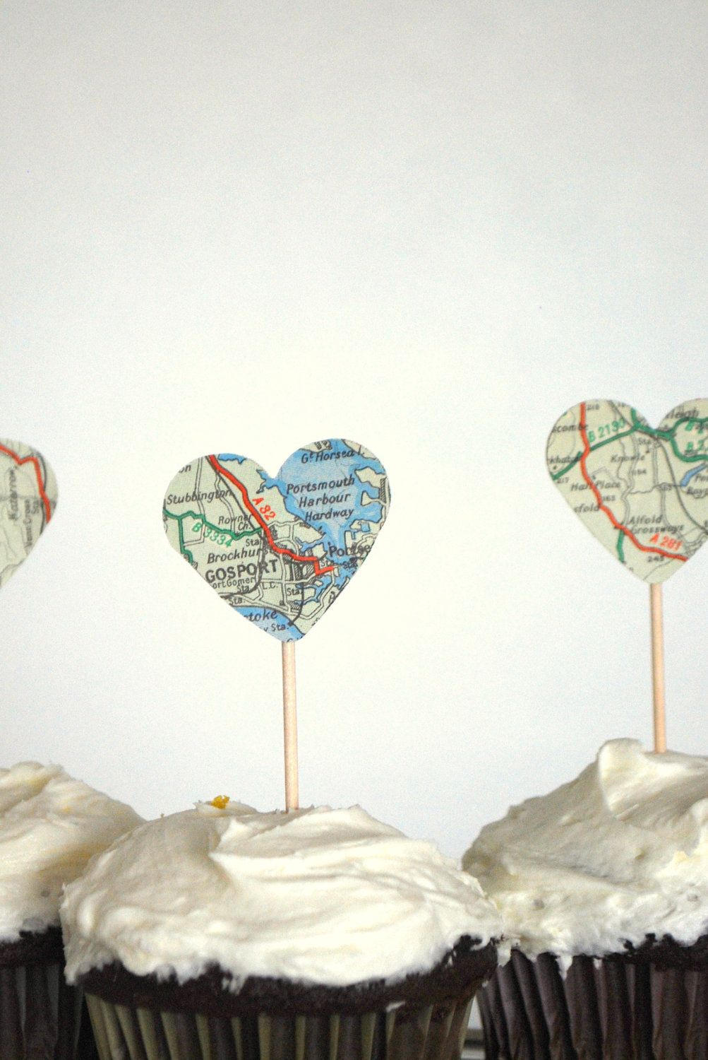 Vintage Map Heart Cupcake Toppers - perfect for your adventure ...