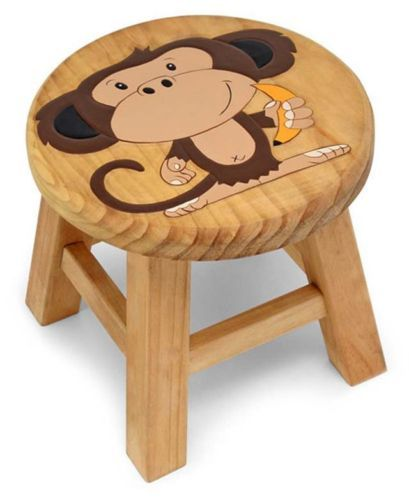 New-in-Box-Kids-Cute-Wooden-Cheeky-Monkey-Pine-Stool-Chair-Jungle-Bedroom-4912