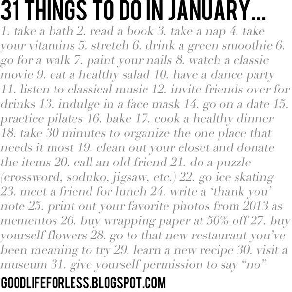 31 Things To Do In January A New Year New You Pinterest