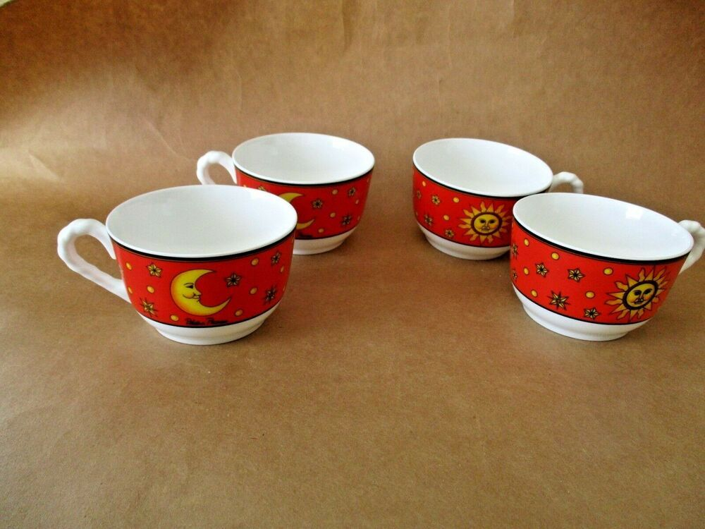 4 Villeroy Boch Bone China Cups Paloma Picasso Sun Moon And