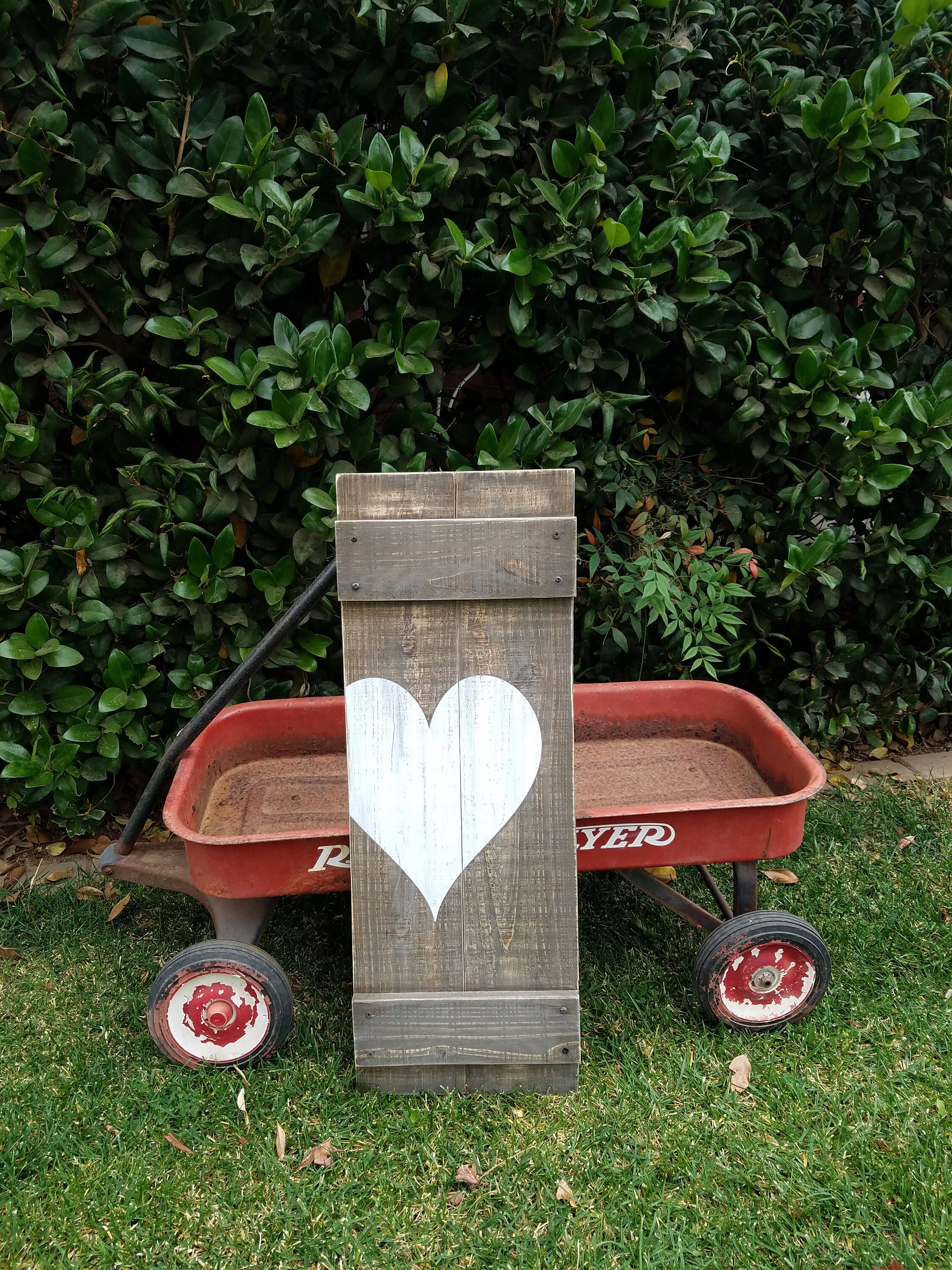 Heart Sign rustic wedding sign plank sign tall heart wood