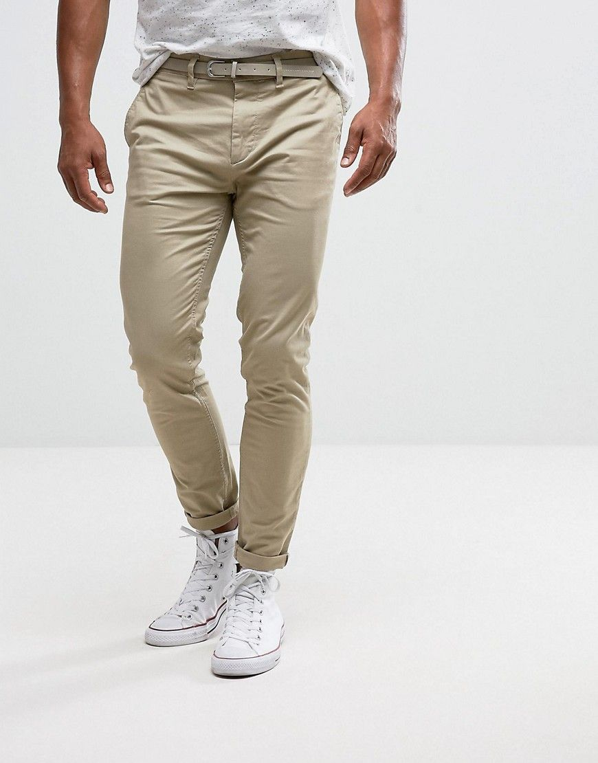 Get this Pull&Bear's chinese trousers now! Click for more details.  Worldwide shipping. Pull&Bear Skinny Chinos With Belt In Stone - Stone:  Chinos by Pull ...