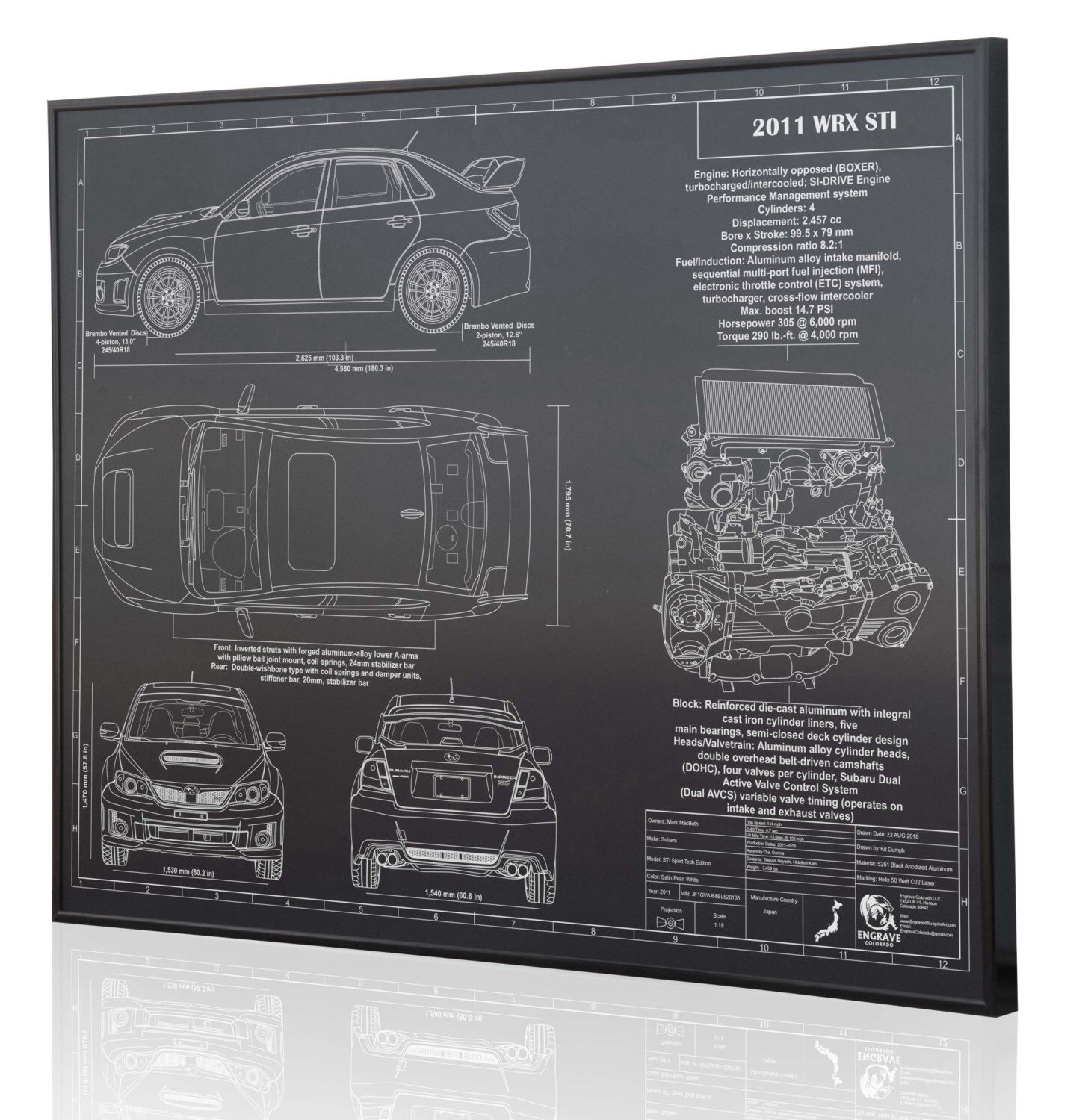 Subaru 2011 Wrx Sti Laser Engraved Wall Art Poster On 2 Engine Timing Diagram Metal Acrylic Or