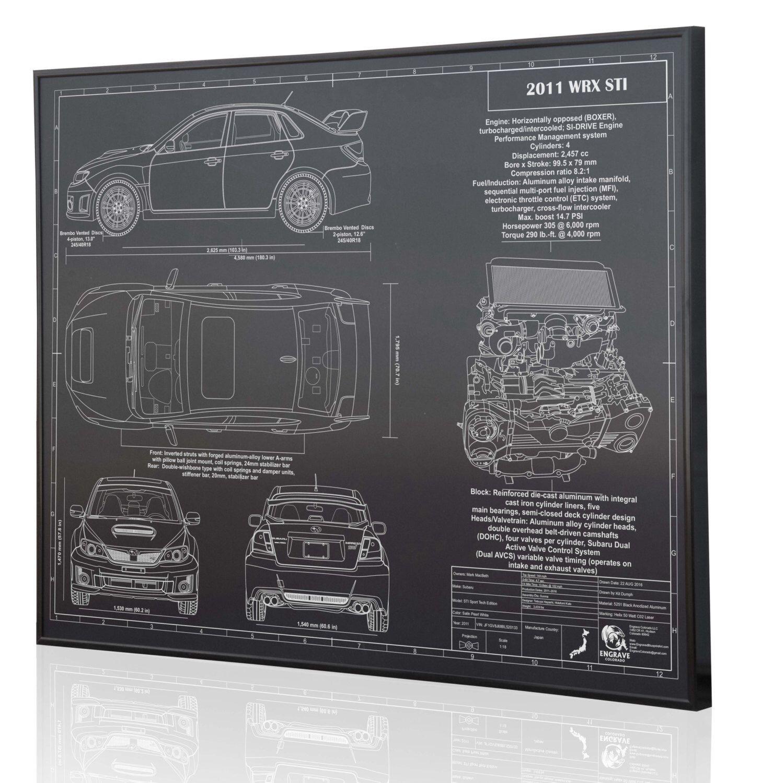 Subaru 2011 Wrx Sti Laser Engraved Wall Art Poster On 3 6r Boxer Engine Diagram Metal Acrylic Or