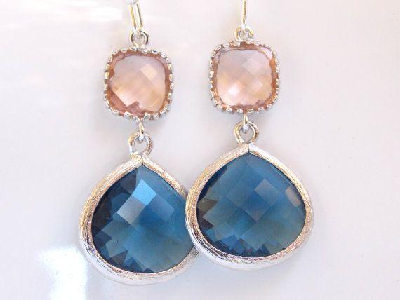 SALE Wedding Jewelry Navy Blue and Peach by FlorBridalJewelry