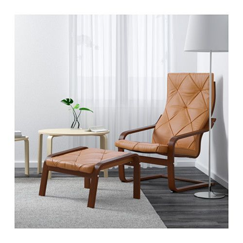 Po ng armchair medium brown glose robust off white for Ikea poang leather