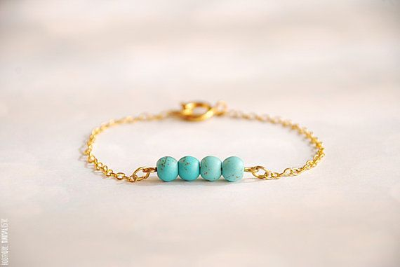 Turquoise minimal bracelet by BoutiqueMinimaliste on Etsy