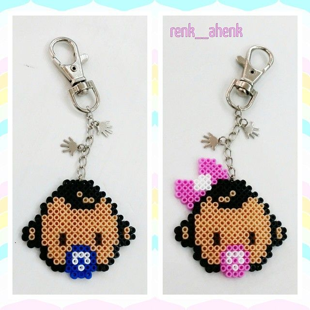 Baby Boy And Baby Girl Keyrings Hama Mini Beads By Renk Ahenk