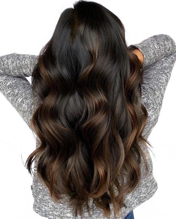 Dark Chocolate Auburn Brown Balayage Wig /  Human Hair Wig / Lace Front Wig / Ombré Wig