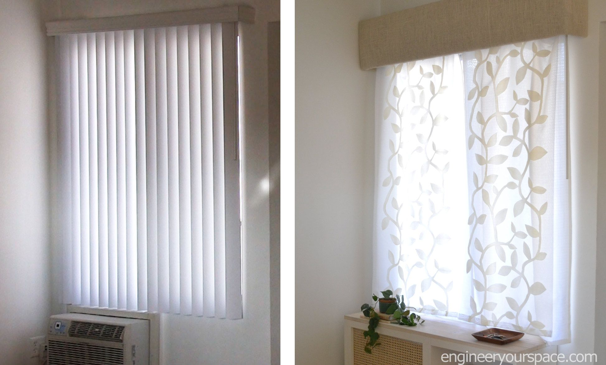 How To Hide Or Replace Vertical Blinds With Curtains In Minutes