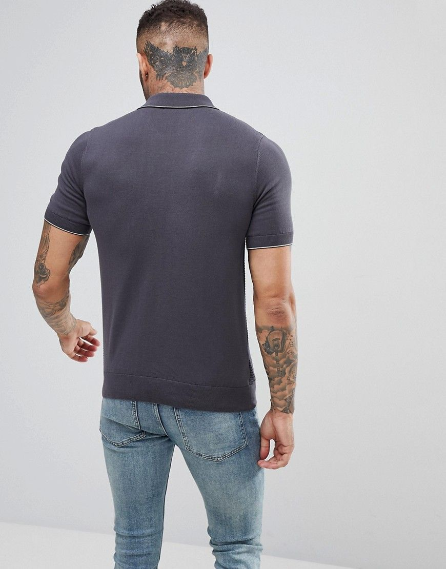 Fred Perry Textured Knitted Polo Shirt In Gray - Gray