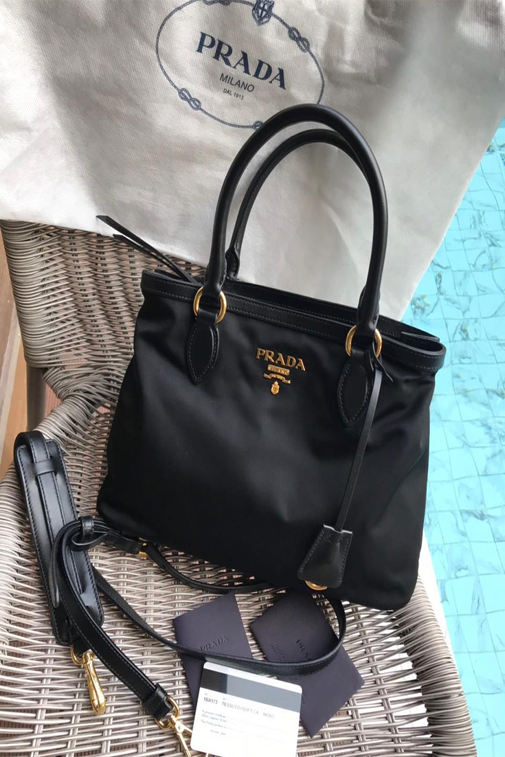 8d1feb220df3 Prada Women s Black Tessuto Nylon Soft Calf Handbag . Measurements  11.5
