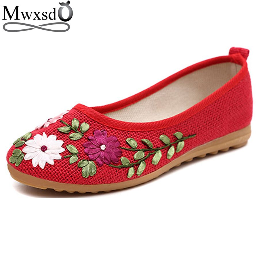 2017 Casual women Flats loafers shoes Flower Flats ladies Slip Cotton Fabric  shoes womens Comfortable Student