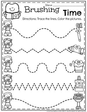 Healthy Teeth Worksheet for Preschool Dental Health Theme  Tracing