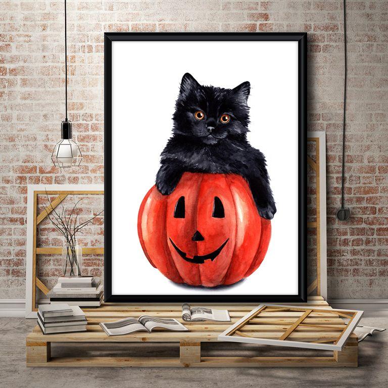 Halloween Kitten Halloween Cat Art Kids Halloween Print Cat Fall