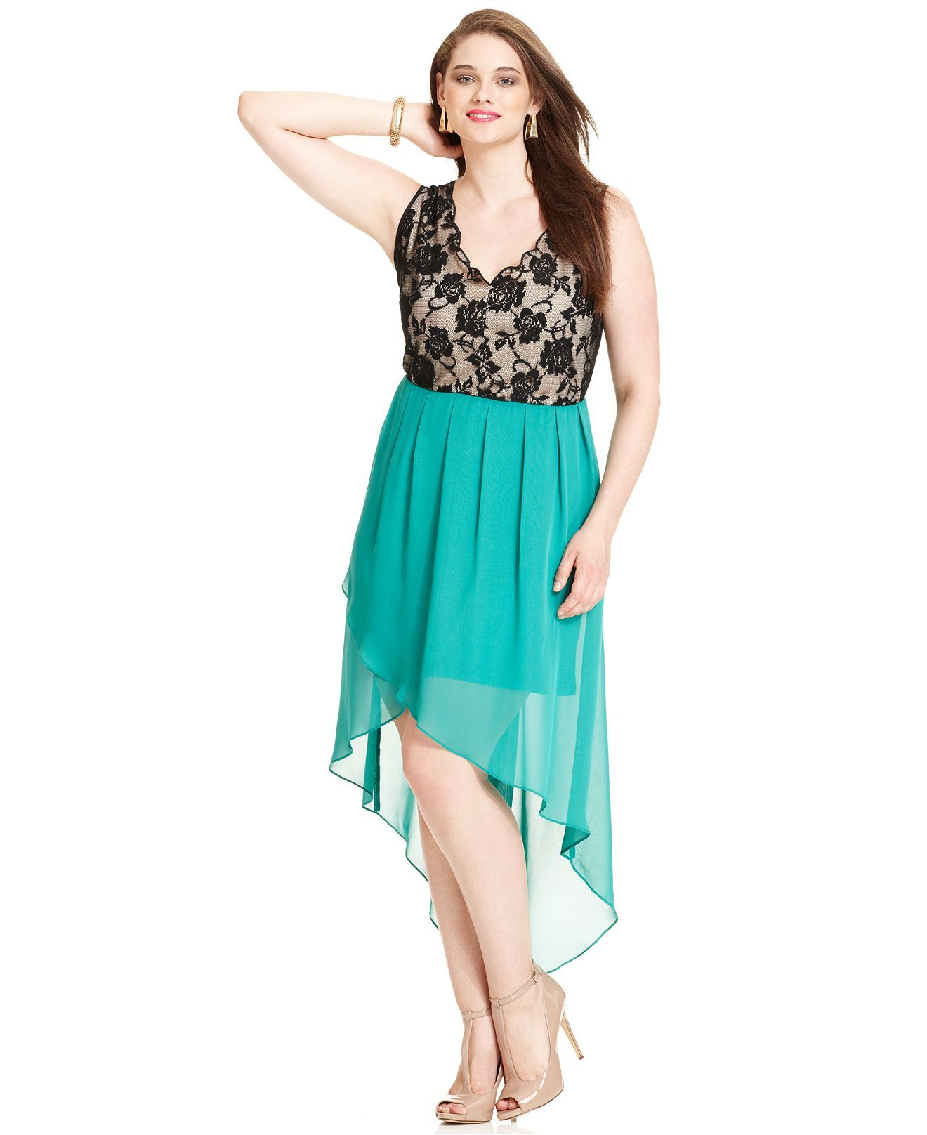 Love Squared Plus Size Dress, Sleeveless Lace High-Low - Junior ...