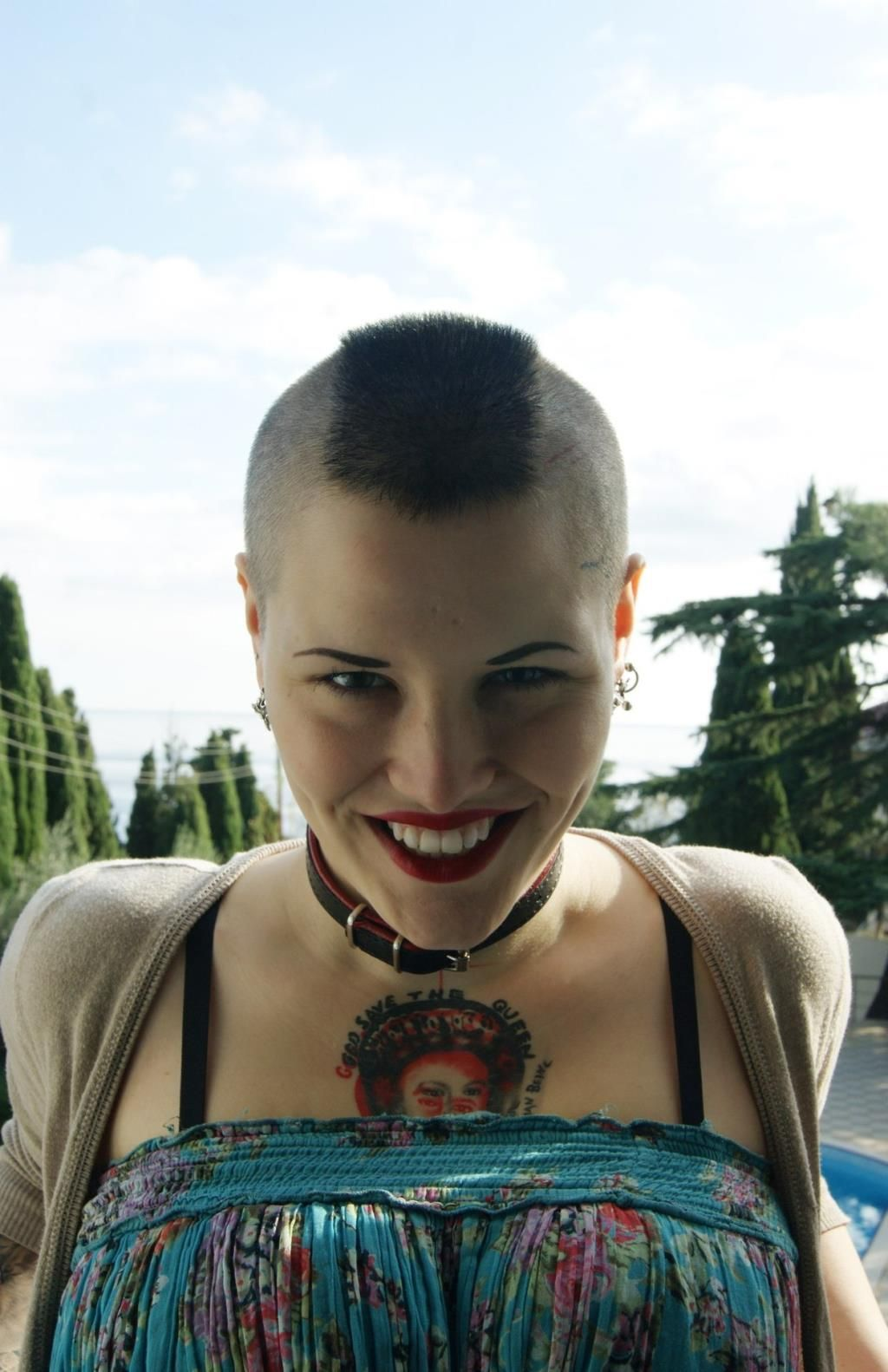Young woman with shaved sides and mohawk hair cool portraits