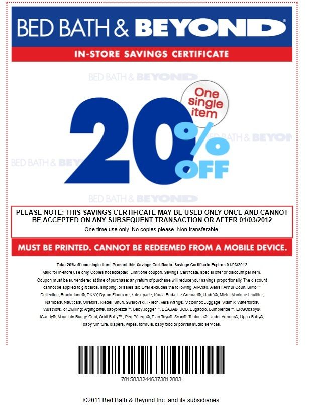 Bed Bath and Beyond Coupon 20 percent Discount. Bed Bath and Beyond Coupon 20 percent Discount   Bed Bath Beyond