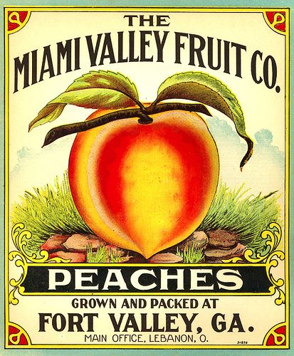 Antique crate label for Fort Valley peaches.