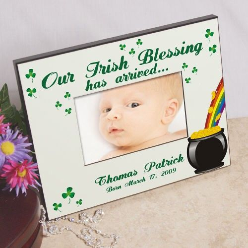 "Our Irish Blessing Personalized New Baby Picture Frames. This Our Irish Blessing Personalized New Baby Picture Frames makes a great gift for any Irish family with for the new arrival! Personalized Baby Frame measures 8"" x 10"" and holds a 3.5"" x 5"" or 4"" x 6"" photo. Easel back allows for desk display or ready for wall mount. Our Personalized Irish Blessing Picture Frame can be personalized with any name and birth date."