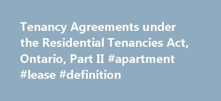 Tenancy Agreements under the Residential Tenancies Act, Ontario - Residential Rental Agreement