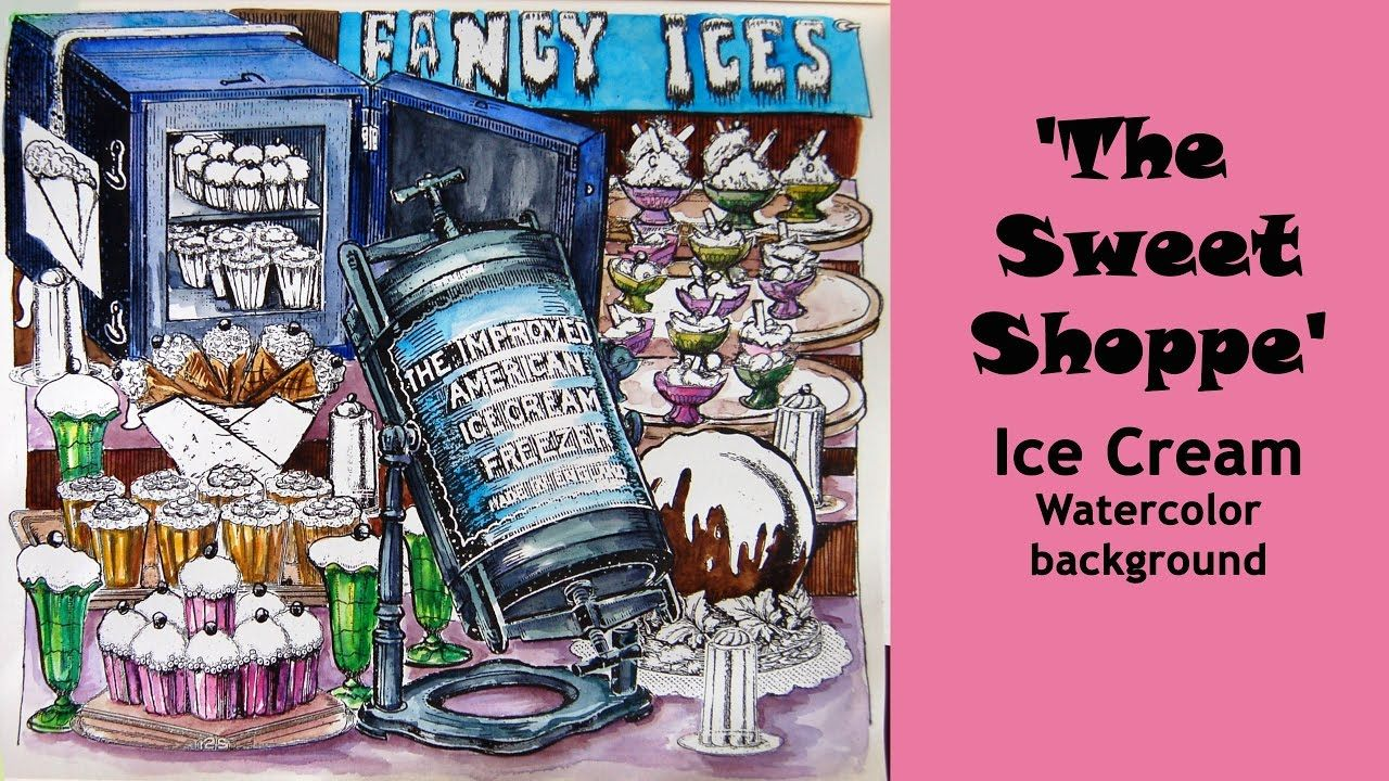 Colouring 'The Sweet Shoppe' Ice cream. Watercolor ...