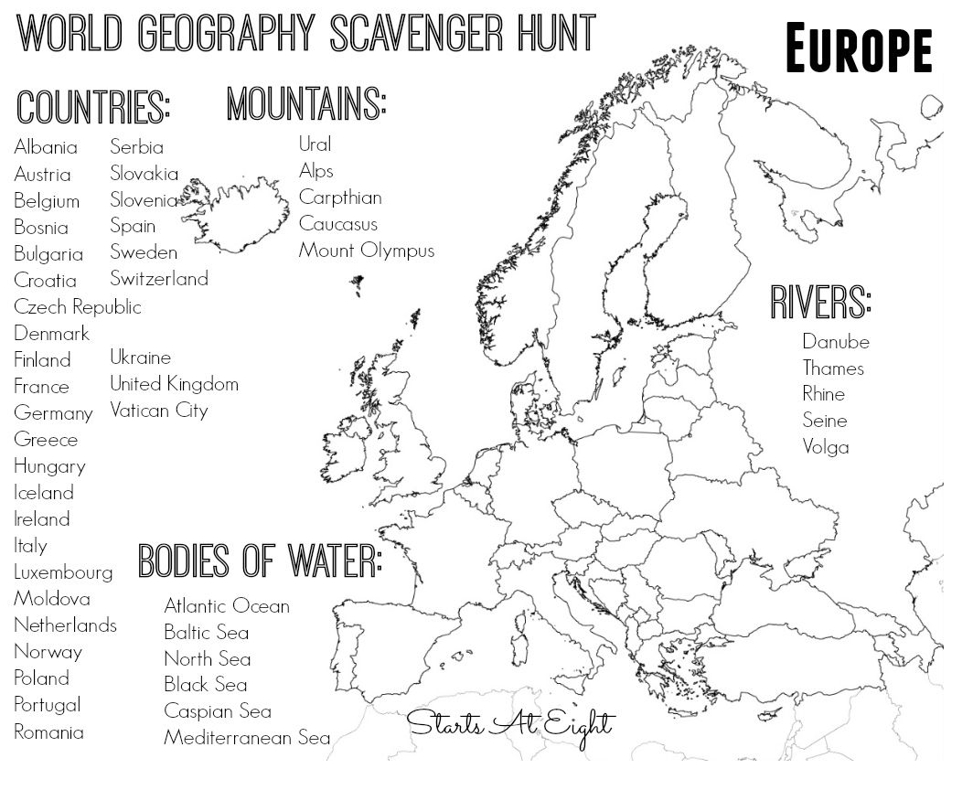 Worksheets Europe Geography Worksheets world geography scavenger hunt south america free printable europe from starts at eight
