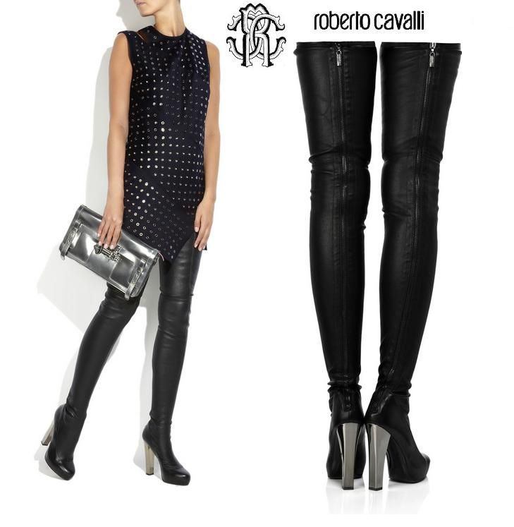 roberto cavalli leather thigh high boots | Rocker Chic Fashion ...