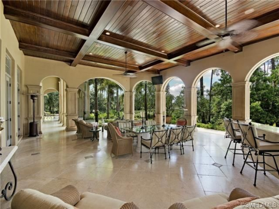 Covered Lanai Outdoor Living Wood Ceiling Verona Mediterra Naples Florida Outdo In 2020 Outdoor Living Space Backyards Outdoor Living Backyard Patio Designs