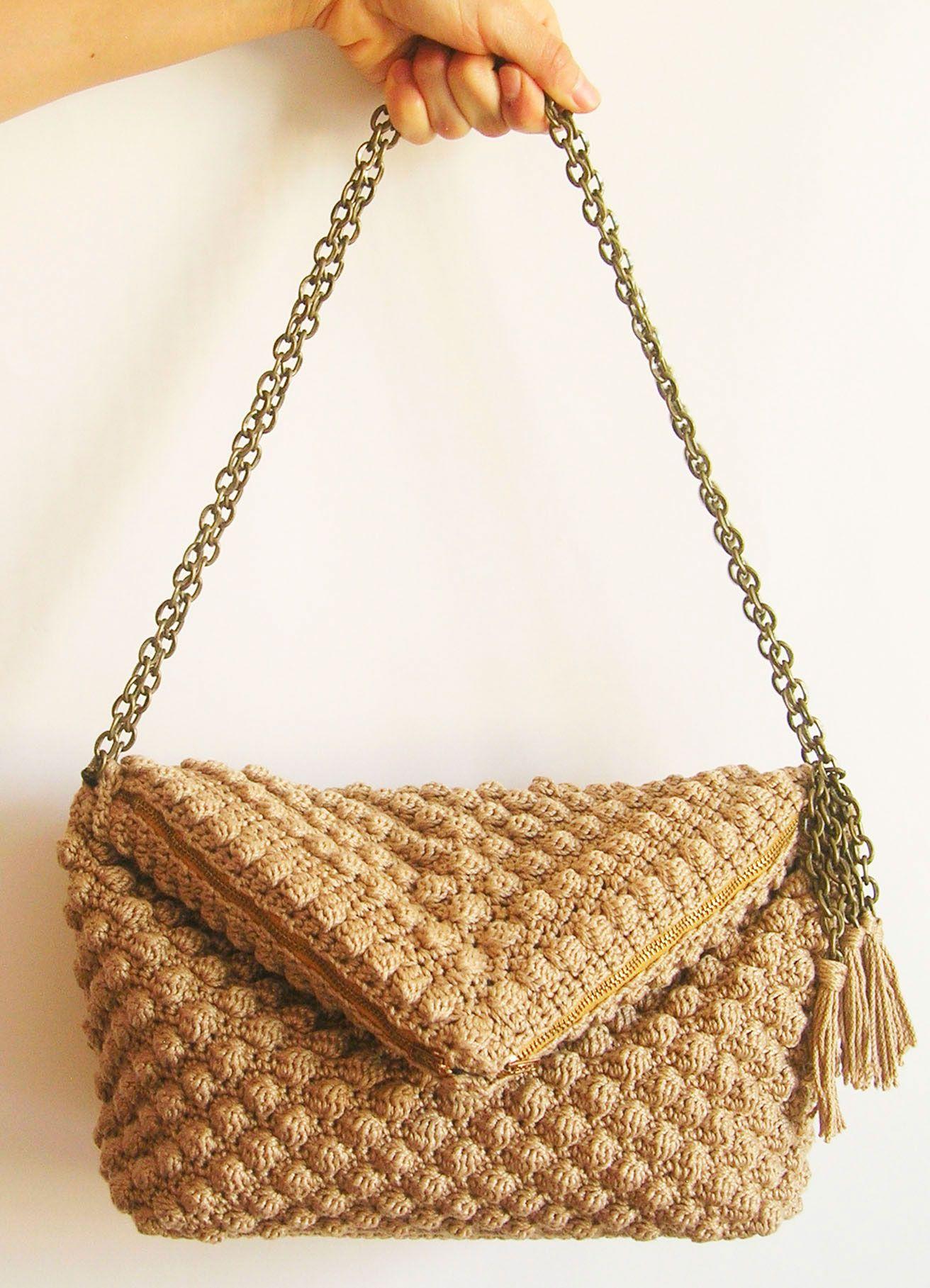 Crochet pattern for bobble stitch bag/ Patrón de gancho para bolso ...