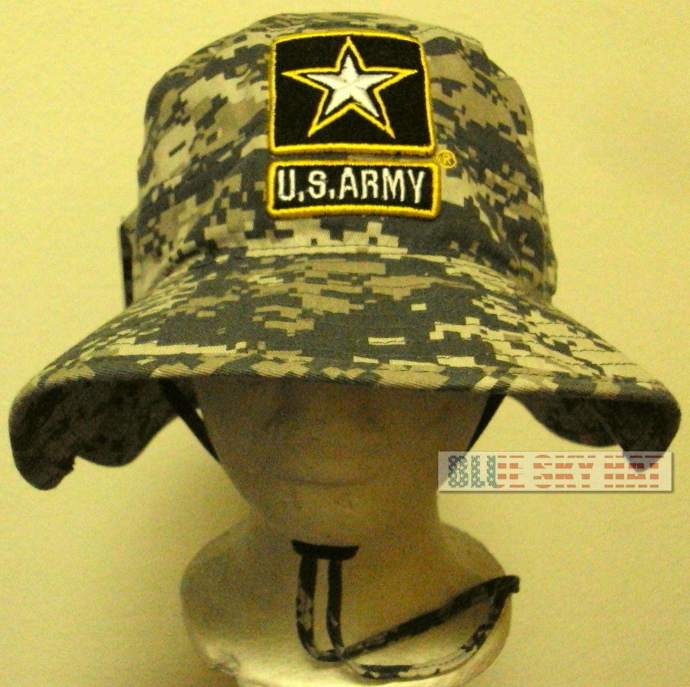 Digital Camo Us Army One Star Strong Boonie Outdoor Bush Cap Bucket Hat S M L Xl Ebay Digital Camo Hats Digital Camouflage