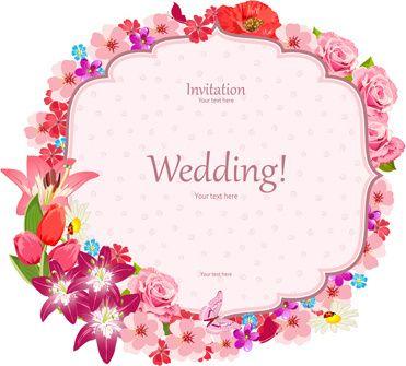 Pink flower frame wedding invitation cards vector pink flower frame wedding invitation cards vector stopboris Images