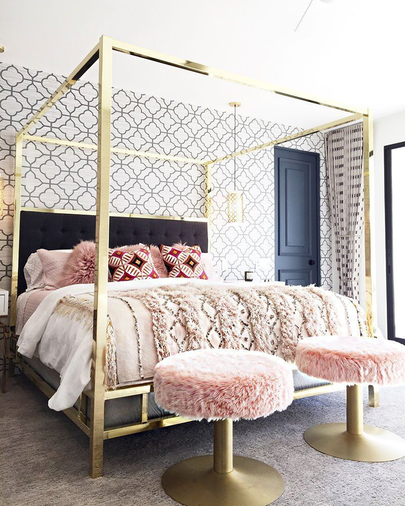 This Gold Br Modern Canopy Bed Is Pure Glamour Modernhomedesignbedroom