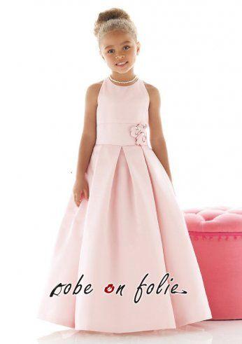355e797e3c386 Robe demoiselle d  honneur enfant élégant pas cher en satin de couleur rose  Robe
