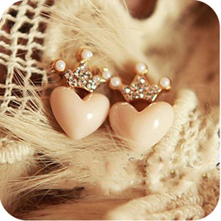 Heart Earring - New Korea Fshaion Wedding Simple Sweet Love Heart Gold Plated Party Lady Earrings #1546386