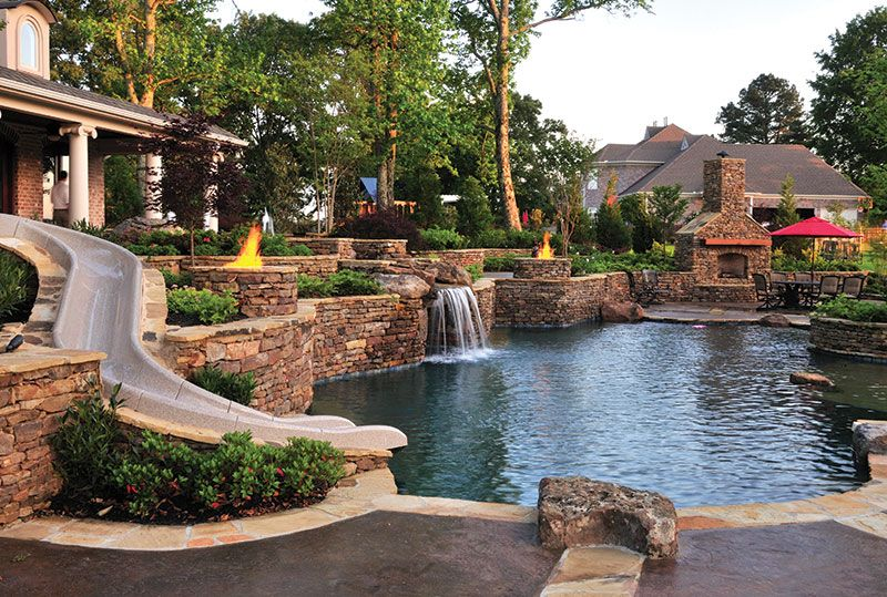 Nice Backyard Pools With Waterfalls And Slide