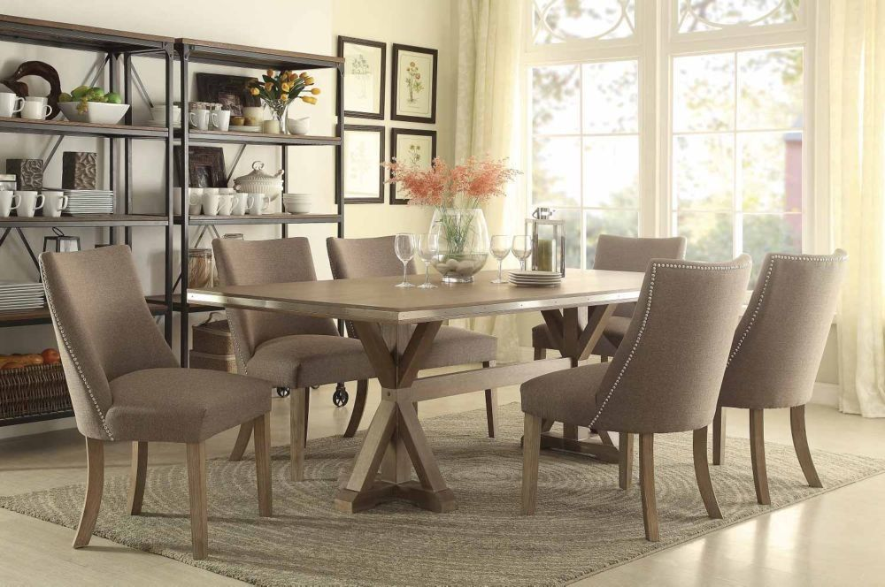 Homelegance Beaugrand 7Pcs Stainless Steel Brown Dining