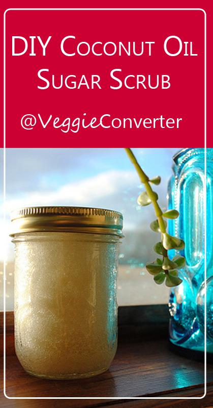 DIY Coconut Oil Sugar Scrub   @VeggieConverter essentialoils diybeauty coconutoil