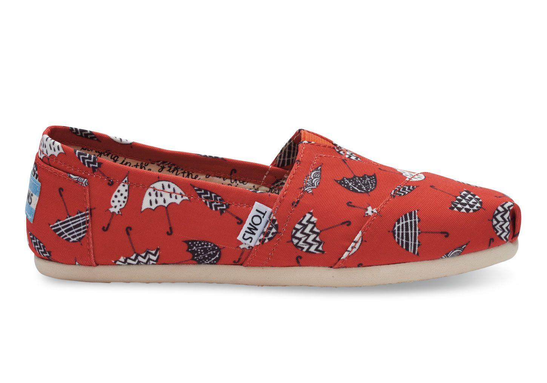 d977256243676 undefined Red Canvas Umbrella Print Women's Classics | Shoes | Shoes ...