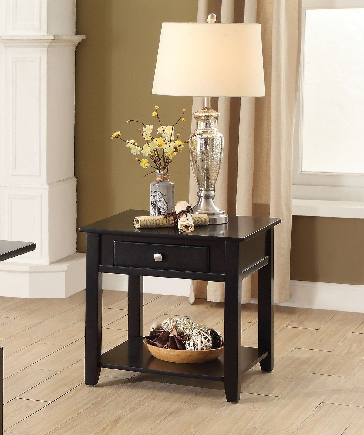 Best Acme Malachi Black End Table With Drawer Black End 640 x 480