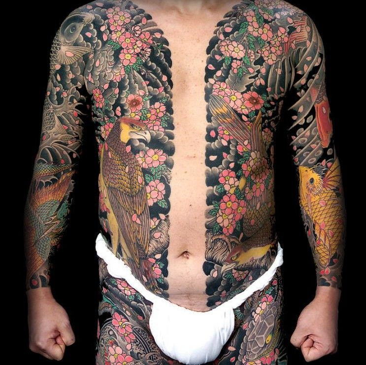 Munewari (Chest dividing), Traditional Japanese Tattoo
