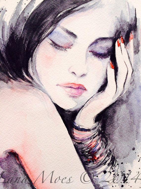 Fashion Illustration peinture aquarelle originale par LanasArt
