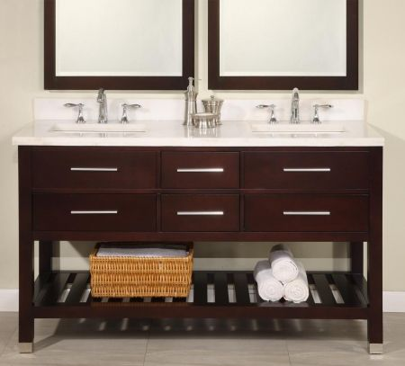 60 Inch Double Sink Modern Cherry Bathroom Vanity With Open Shelf Adorable Cherry Bathroom Vanity Design Decoration