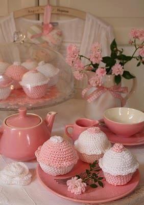 Crocheted Cupcake Tea Party